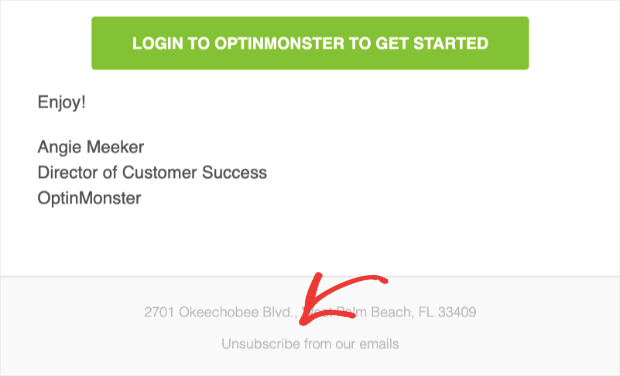 Unsubscribe button in OptinMonster emails