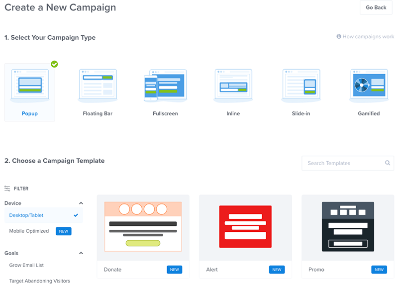 OptinMonster Campaign Type
