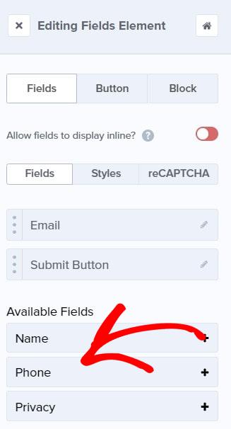 Editing fields element phone