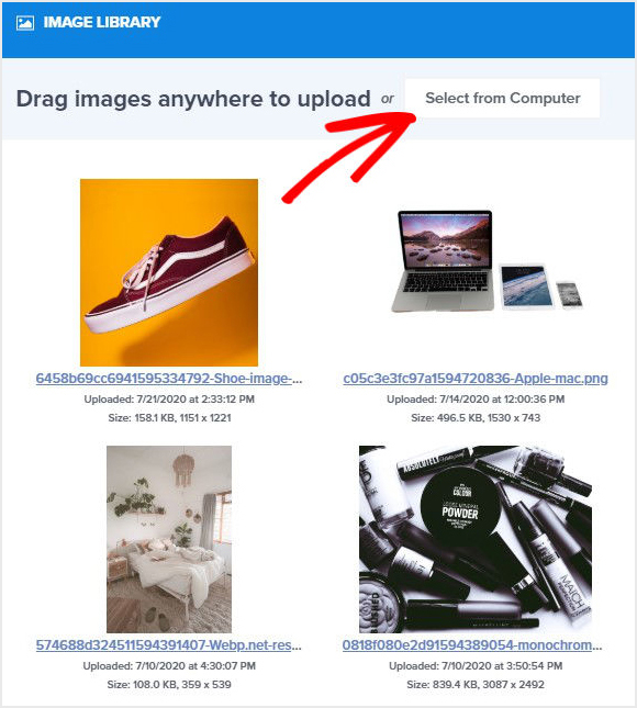 OptinMonster Image Library upload