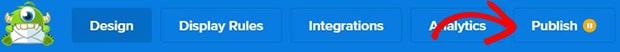 OptinMonster publish ribbon