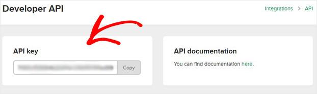 Copy Mailerlite API key