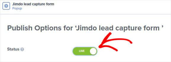 Jimdo popup publish