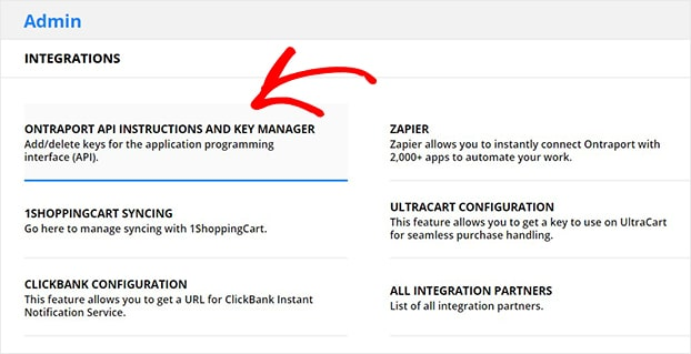 Ontraport API Instructions and Key Manager