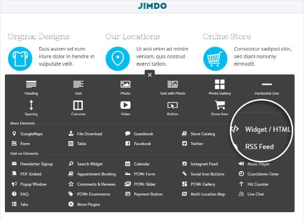 Select HTML widget in Jimdo