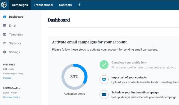 Sendinblue account dashboard screen
