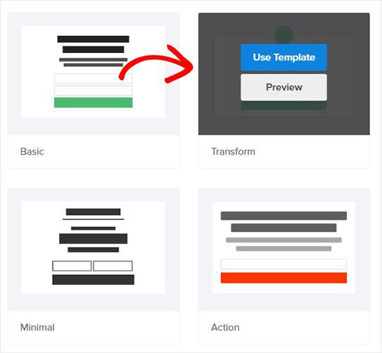 Choose Transform template_