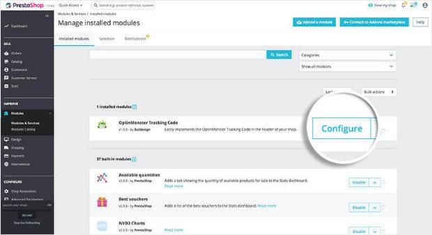 Configure PrestaShop OptinMonster module