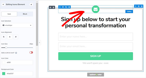 Remove email icon from transform template_