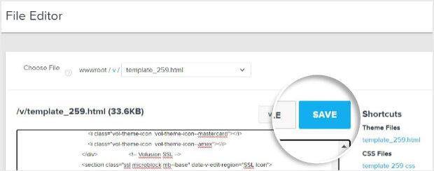 Save button in Volusion File Editor