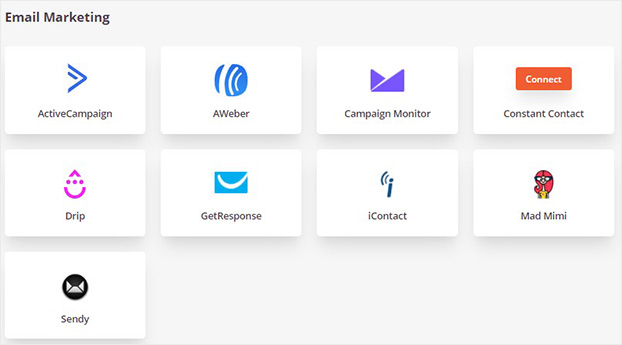 Connect SeedProd to email service provider select