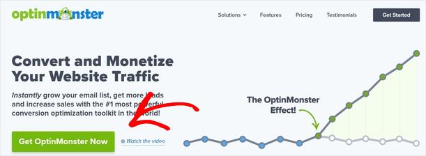 OptinMonster homepage CTA