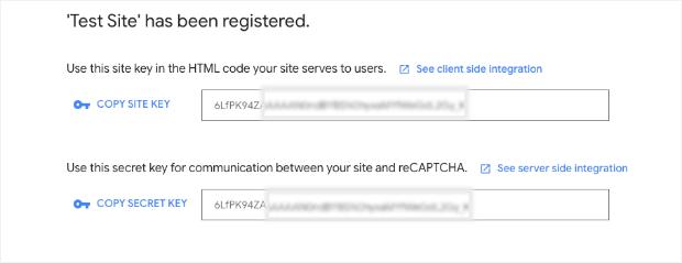 Site key and secret key for reCaptcha-min