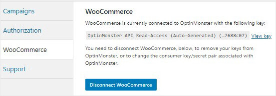 WooCommerce OptinMonster connected key