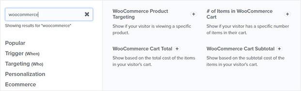 WooCommerce OptinMonster display rules_