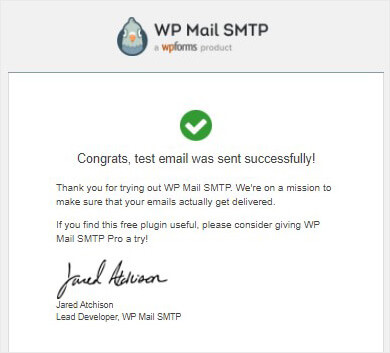 WordPress SMTP test email successful