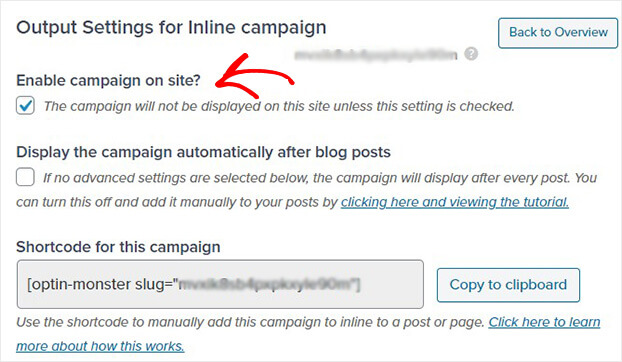 WordPress settings for inline campaign_