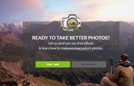 Nature TTL fullscreen welcome gate