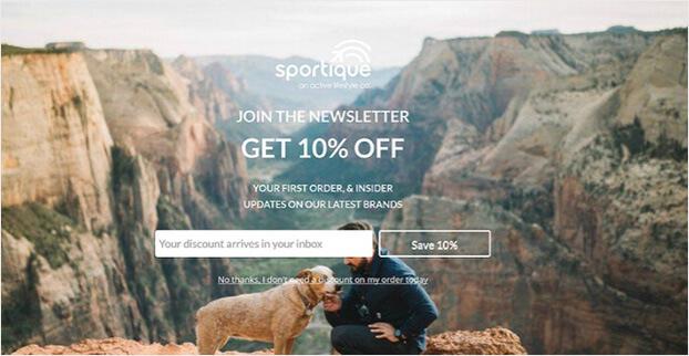 Sportique splash page_