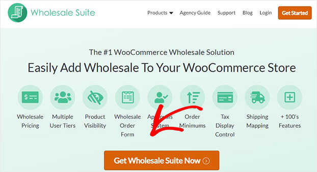 Wholesale Suite home page Get Started