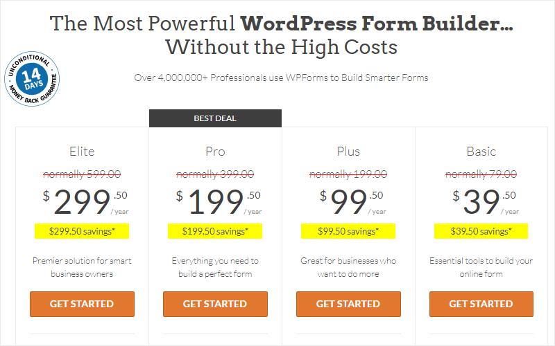 wpforms pricing page example