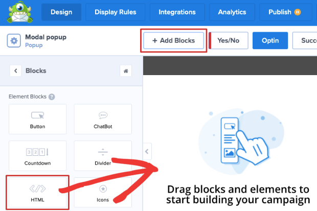 add html block OptinMonster