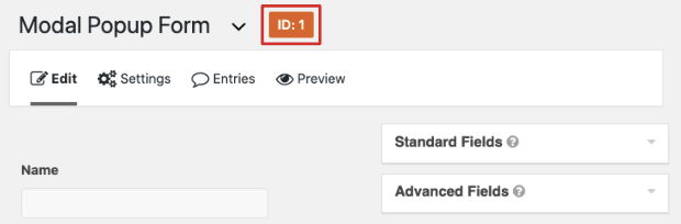 form id gravity forms edit page