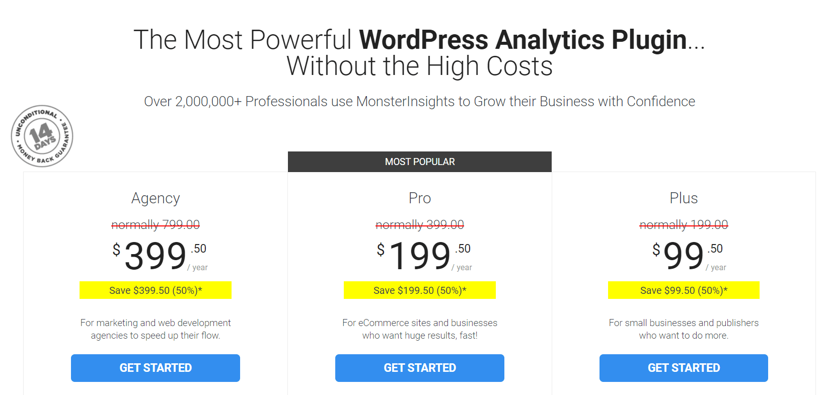 monsterinsights pricing plans