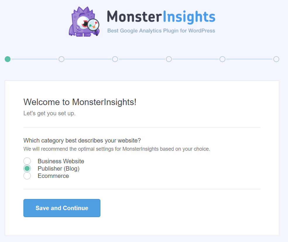 monsterinsights setup wizard